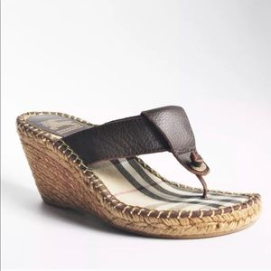 Burberry Brown Leather Boho Wedge Thong Sandal